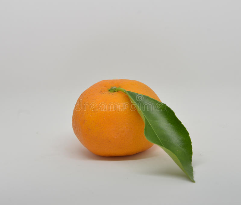 mandarin with leaves close-up on a white royalty free stock photography