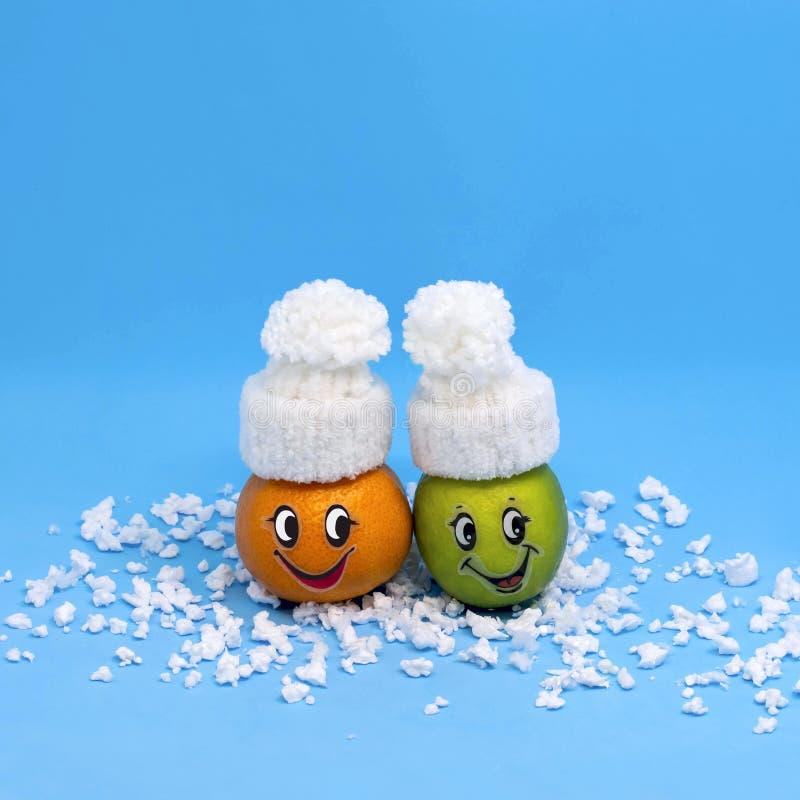 Mandarin och limefrukt i formen av roligt folk i vinter royaltyfri bild