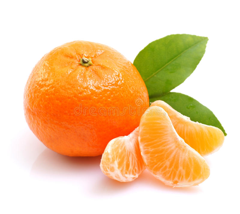 Mandarin orange. On white ground royalty free stock image