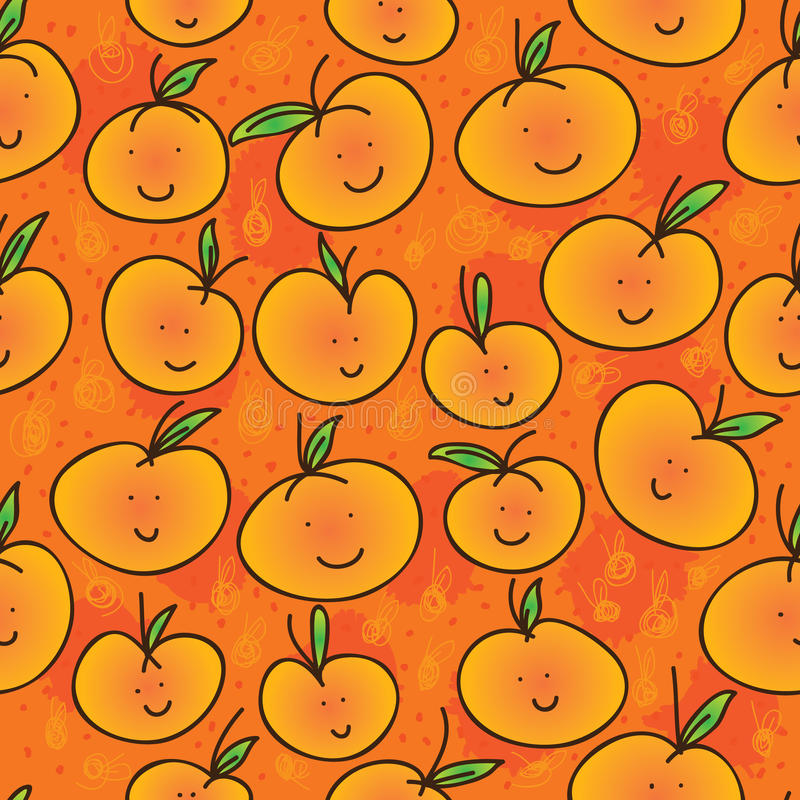 Mandarin orange cartoon seamless pattern. Illustration mandarin orange cartoon smile happy seamless pattern orange color background colors stock illustration