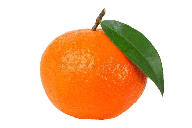 Mandarin orange with leaf stock image