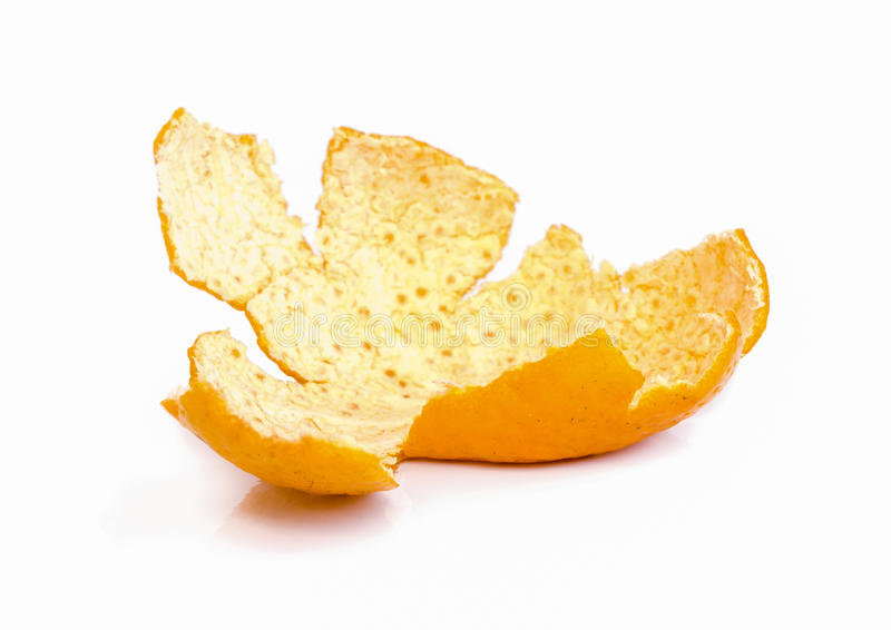 Mandarin orange shell. Mandarin orange shell isolated on white background royalty free stock images