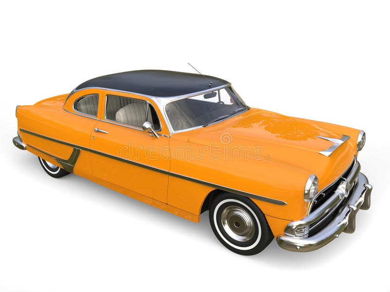 Mandarin orange vintage car - black roof - white wall tires royalty free illustration
