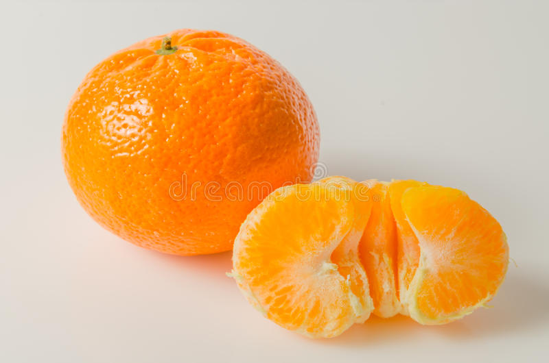 Mandarin orange. On white background stock images