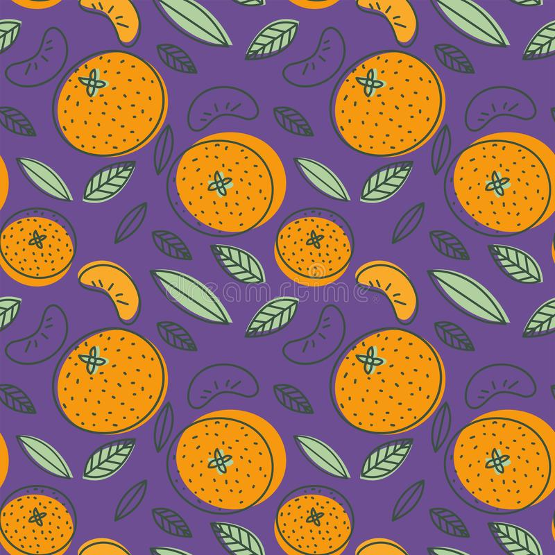 Mandarin seamless pattern. Vector tangerine. Hand drawn fresh tr. Opical citrus fruit. Multicolored sketch background. Colorful doodle wallpaper. Orange and stock illustration