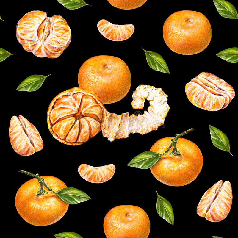 mandarinas Gráfico de la acuarela Mandarina pelada madura Trabajo hecho a mano Fruta tropical Alimento sano Modelo inconsútil par stock de ilustración