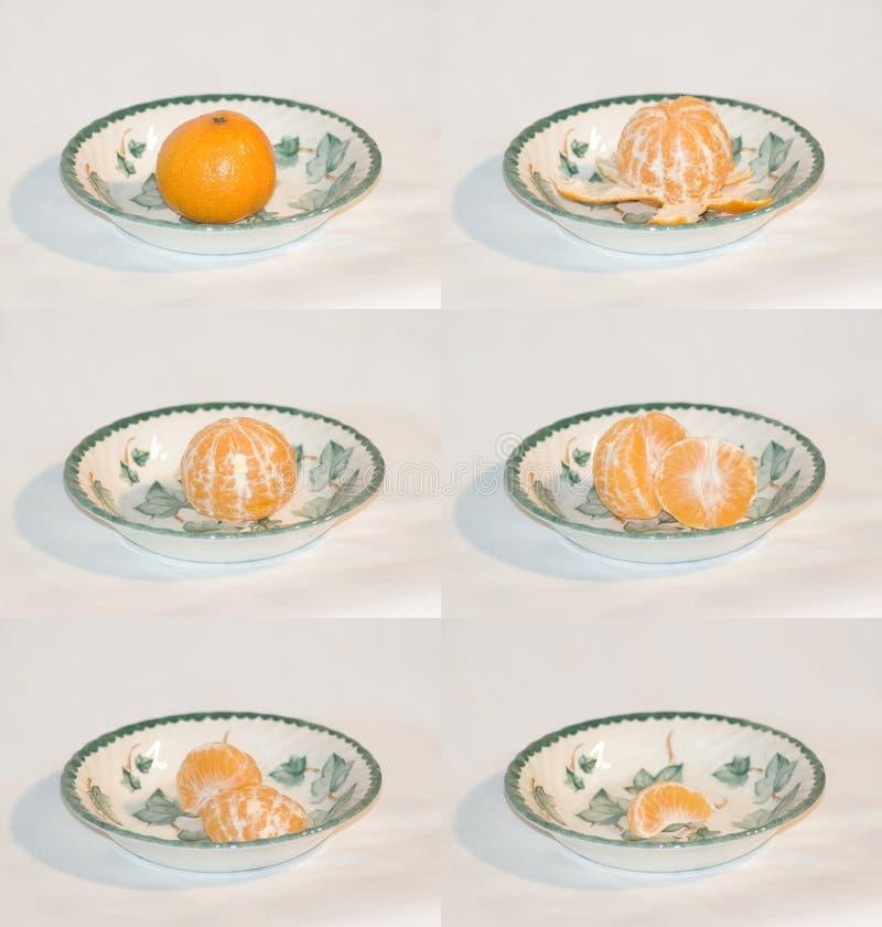 Mandarine die wordt gegeten royalty-vrije stock afbeeldingen