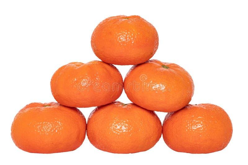 Mandarine isolated. Close-up of fresh ripe mandarin orange tangerine or clementine isolated on a white background. royalty free stock photography