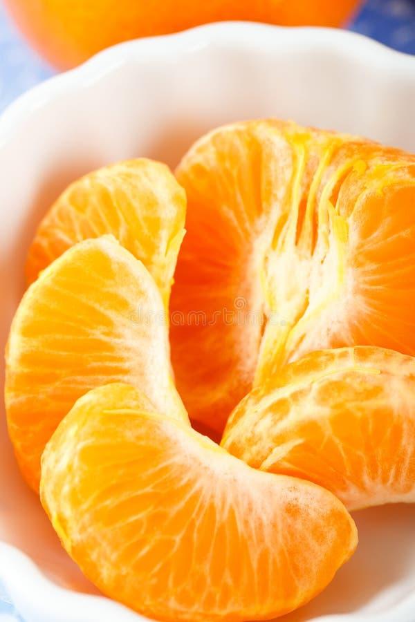Mandarine-Kapitel schließen herauf obenliegende Ansicht stockbilder
