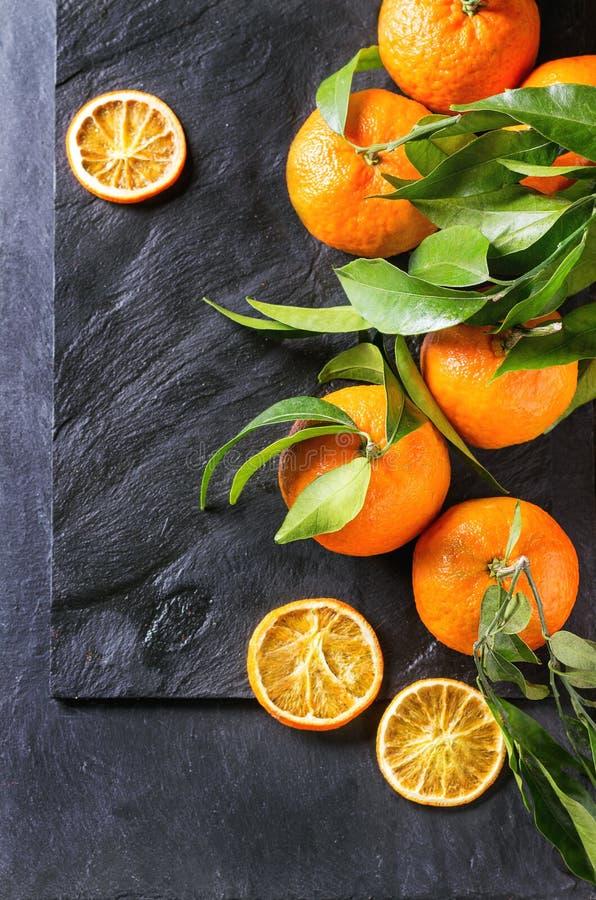 Mandarines avec des feuilles photos libres de droits