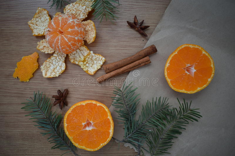 Mandarines et cannelle photo stock