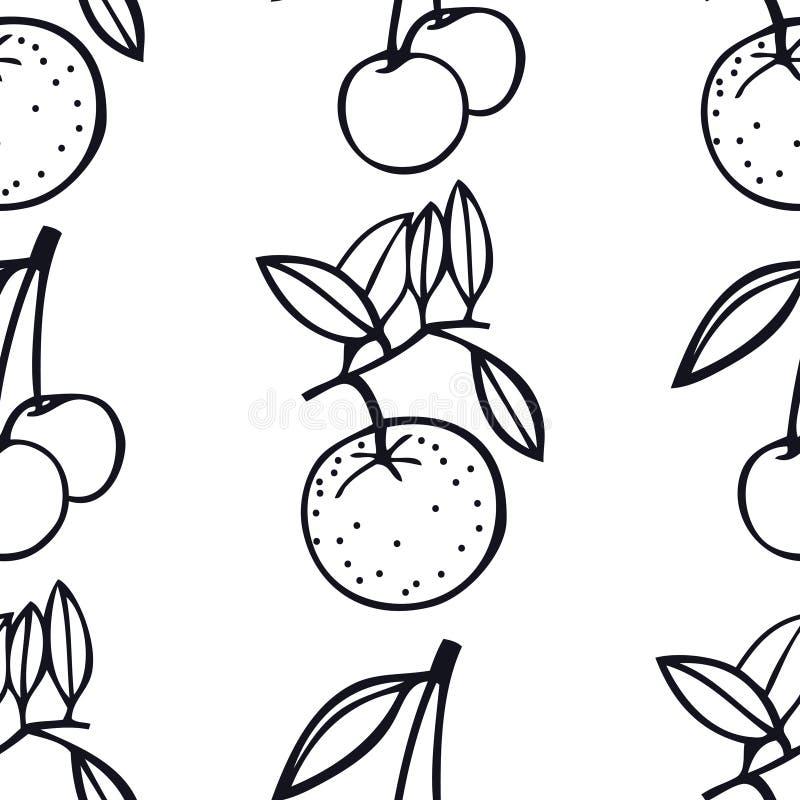 Mandarini dolci con il modello senza cuciture di frutta fresca delle ciliege royalty illustrazione gratis