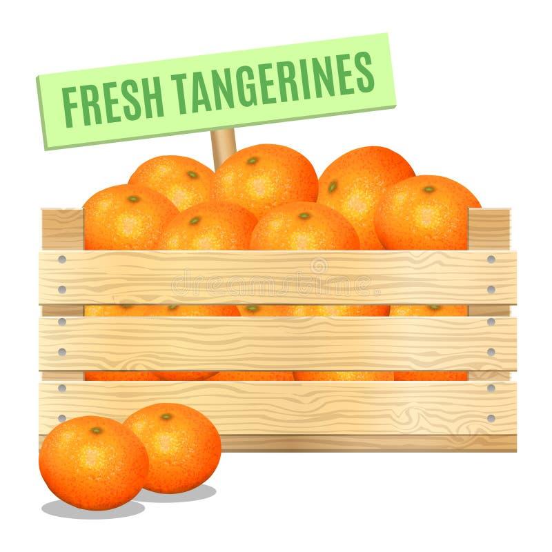 Mandarini freschi in una scatola di legno su un fondo bianco Vettore illustrazione vettoriale