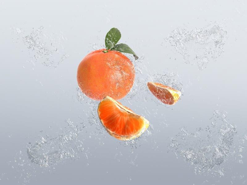 Mandarino sano con le bolle dell'acqua illustrazione vettoriale