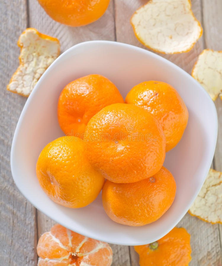 Mandarins. In bowl and on a table stock images