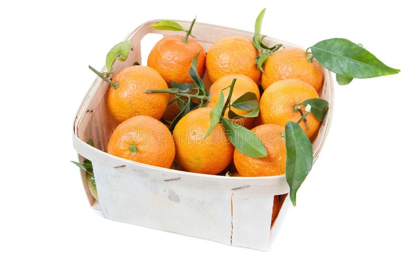 The mandarins in the box royalty free stock photos