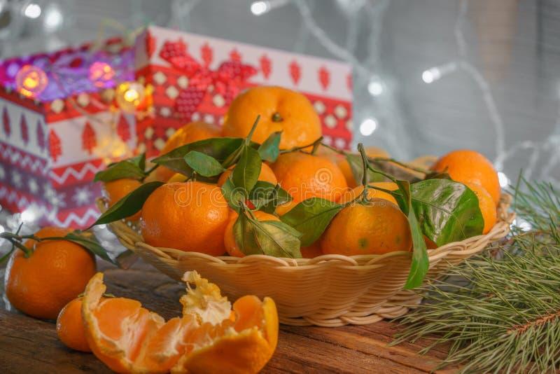 Mandarins in Kerstmistijd stock foto