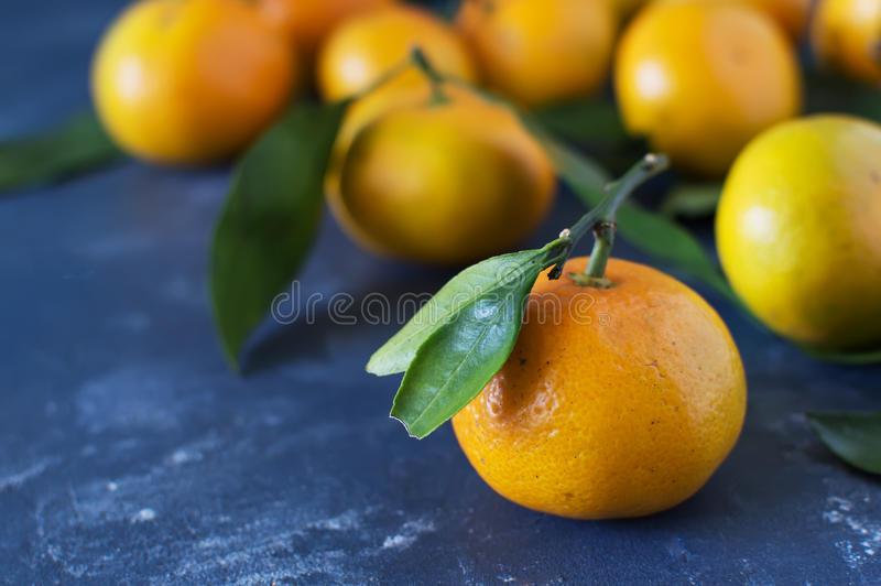 Mandarins. With leaves close-up on a blue background. Horizontal photo stock photos