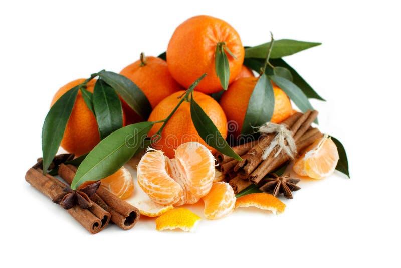 Mandarins met bladeren stock foto