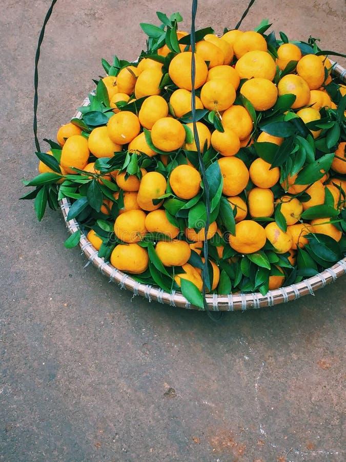 Mandarins op de markt van Dalat in Vietnam royalty-vrije stock afbeeldingen