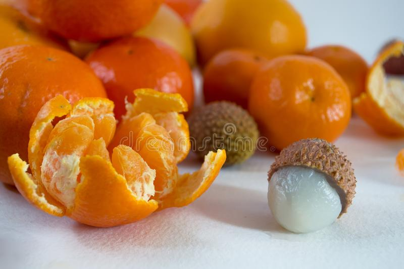 Mandarins on a white background with lobule, peel, citron and litchi. Side view, close. Citrus reticulata. Litchi chinensis.  royalty free stock images