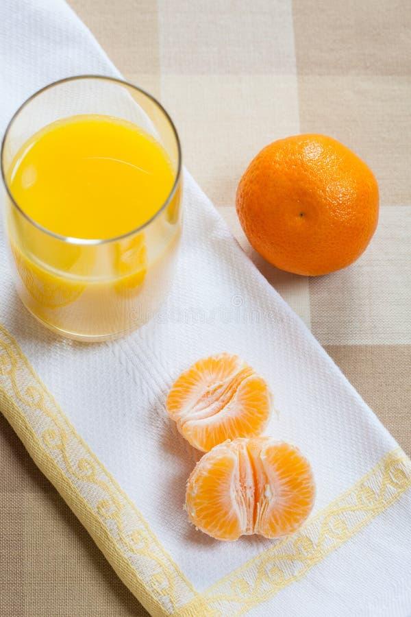 Mandarinsegment med ett exponeringsglas av orange fruktsaft royaltyfri fotografi