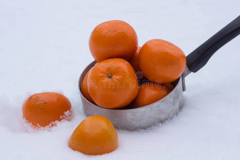 Mandarynki w śniegu zdjęcia royalty free
