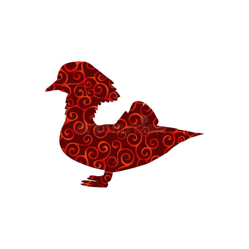 Mandarynu ptaka spirali wzoru koloru sylwetki zwierzę ilustracja wektor