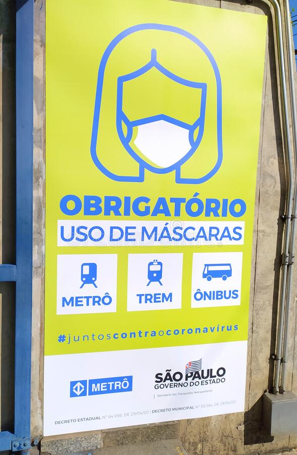 Mandatory Mask usage sign. Coronavirus mask warning in the subway of Sao Paulo. Aviso obrigatorio de mascara, SP, Brazil. royalty free stock photos