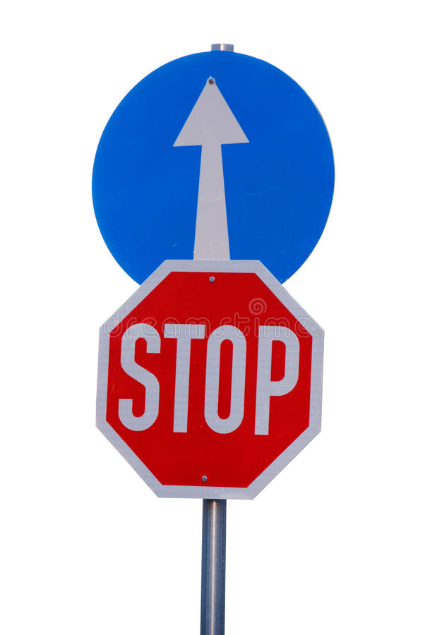 Mandatory Road Sign Stop And Go Straight Stock Photography