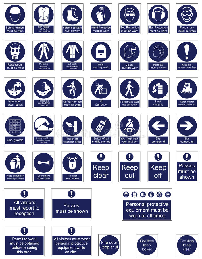 Mandatory Signage. Icon Collection individually layered royalty free illustration