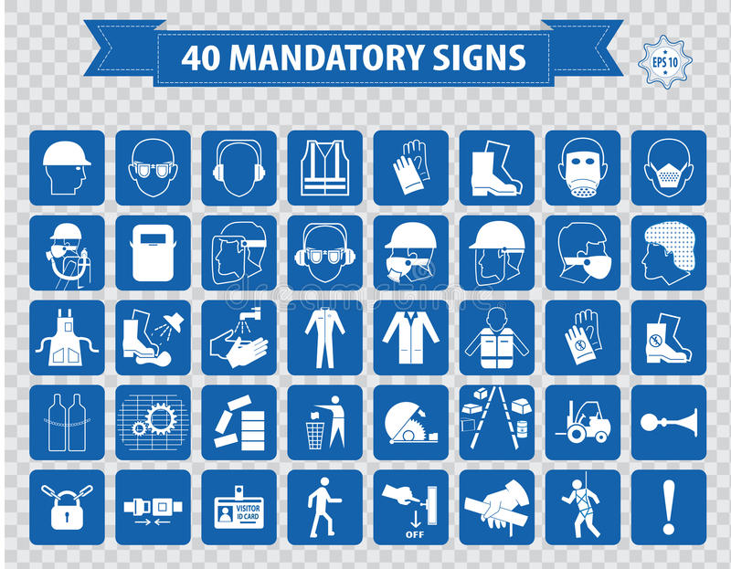 Mandatory signs, construction health, safety sign used in industrial applications. (safety helmet, gloves, ear protection, eye protection, foot protection royalty free illustration