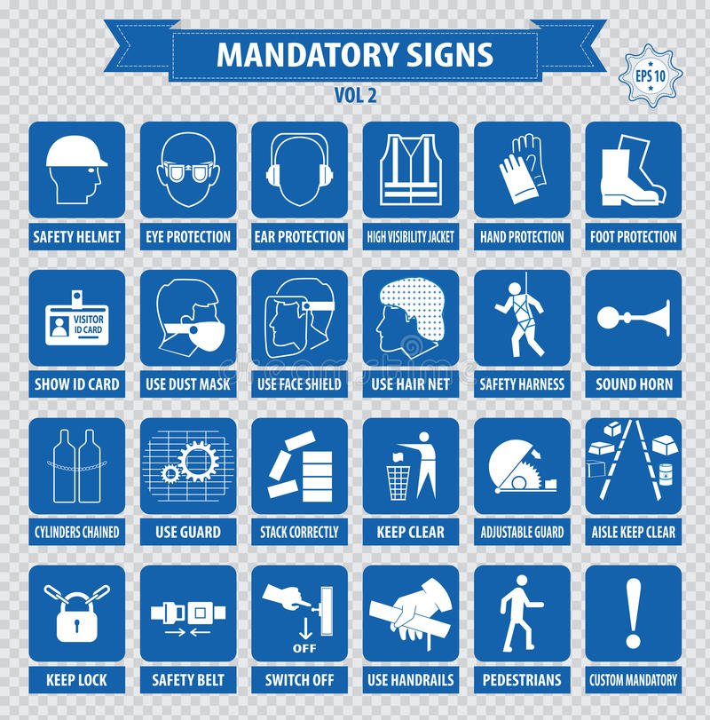 Mandatory signs, construction health, safety sign used in industrial applications. (safety helmet, gloves, ear protection, eye protection, foot protection vector illustration