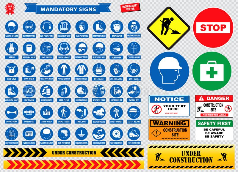 Mandatory signs, construction health, safety sign used in industrial applications safety helmet, gloves, ear protection, eye. Protection, foot protection stock illustration