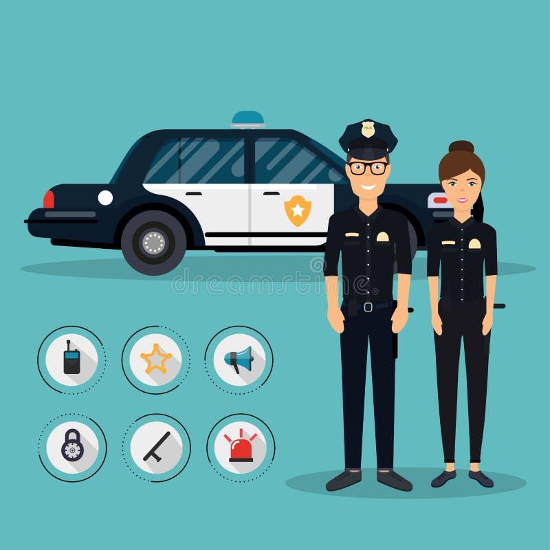 Mande los caracteres con el vehículo del coche policía en diseño plano Polic ilustración del vector