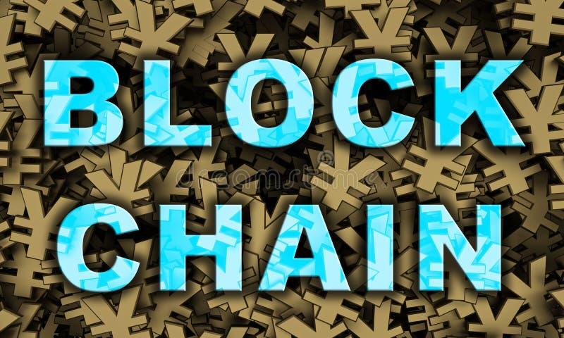 Mande un SMS al blockchain en la representación del fondo 3d del símbolo de los yenes ilustración del vector