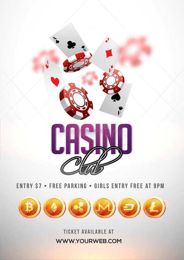 Mande un SMS al club del casino con 3D el microprocesador, tarjetas del as Aviador, cartel o banne stock de ilustración
