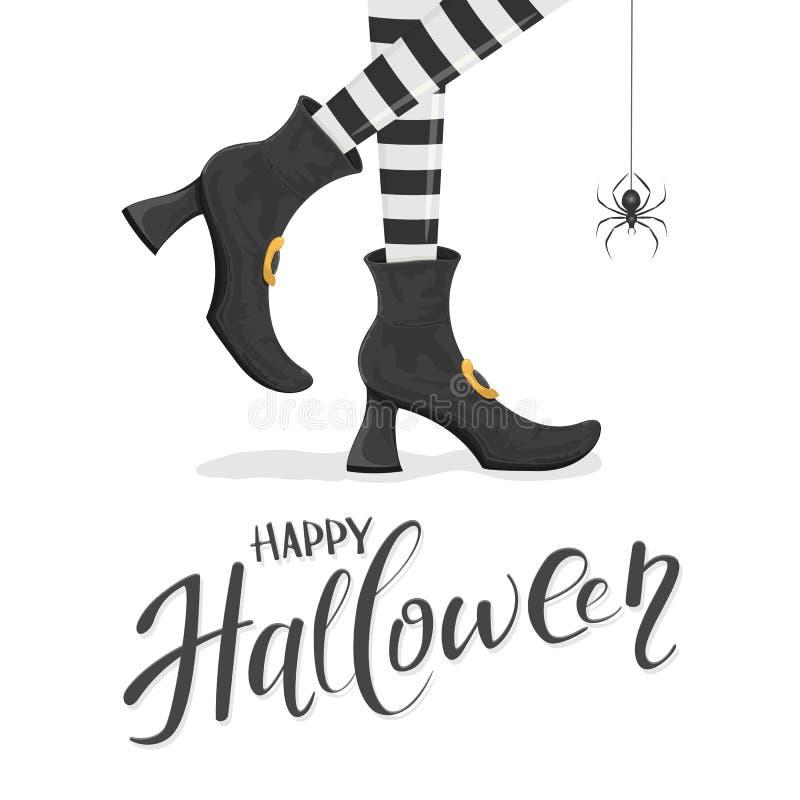 Mande un SMS al feliz Halloween con las piernas de las brujas en zapatos y araña ilustración del vector