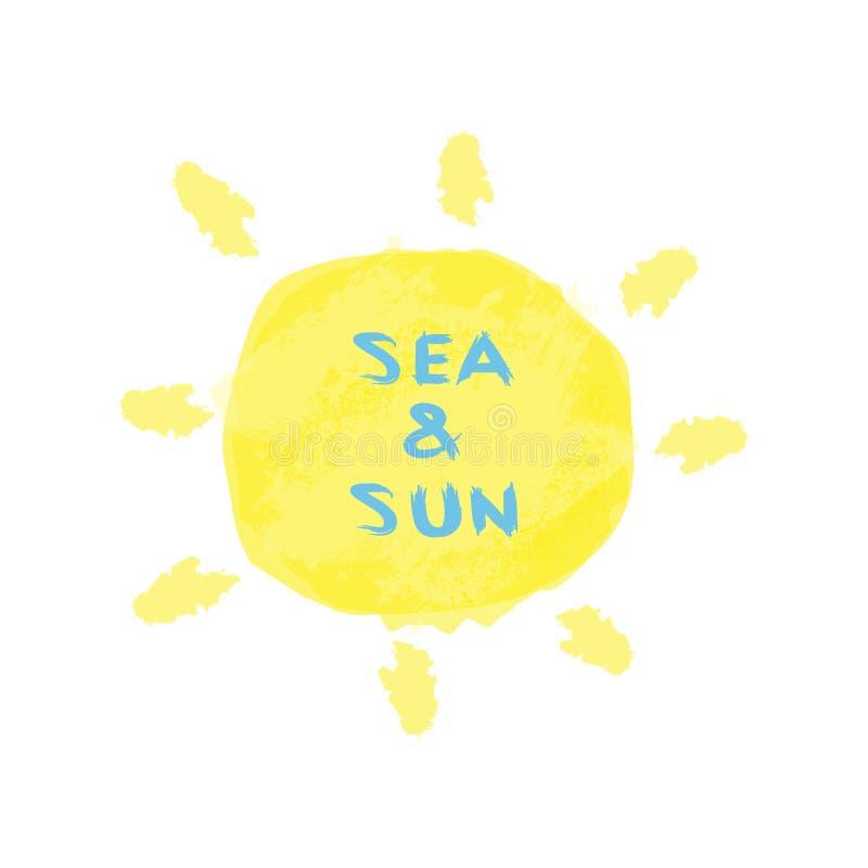 Mande un SMS al mar y a Sun escritos con un cepillo áspero Fondo soleado de la acuarela ilustración del vector