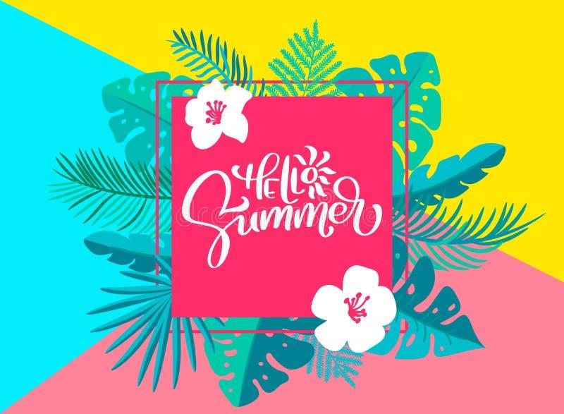 Mande un SMS hola al verano en marco floral geométrico de las hojas de palma Mano dibujada poniendo letras al ejemplo del vector  libre illustration