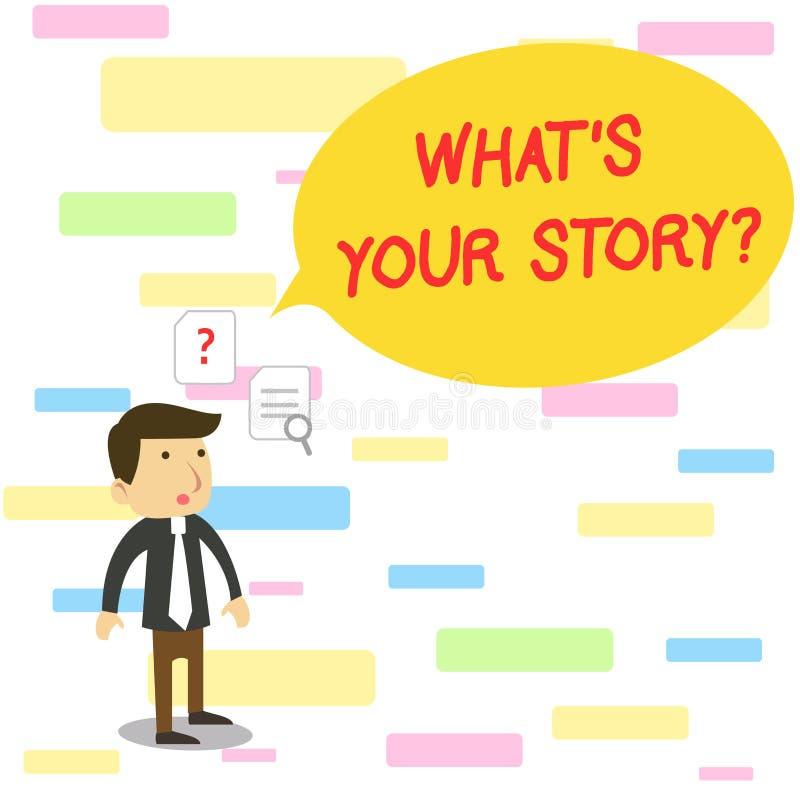 Mande un SMS a la demostraci?n de la muestra qu? s es su pregunta de la historia Analysisner conceptual de la foto de preguntar q stock de ilustración