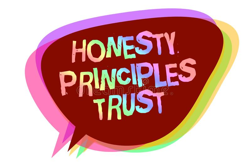 Mande un SMS a la muestra que muestra a confianza de los principios de la honradez la foto conceptual que cree alguien las palabr stock de ilustración