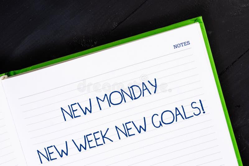 Mande un SMS a la muestra que muestra a nuevo lunes nuevas metas de la nueva semana El fin de semana conceptual de la foto adiós  foto de archivo