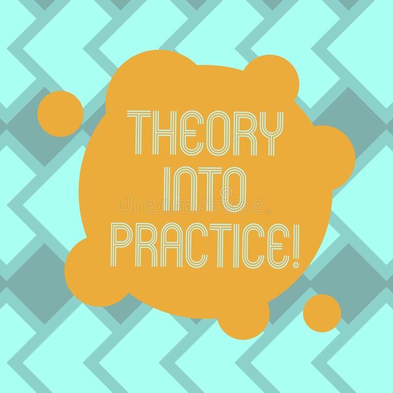 Mande un SMS a la muestra que muestra teoría en práctica Las manos conceptuales de la foto en el aprendizaje aplican conocimiento ilustración del vector