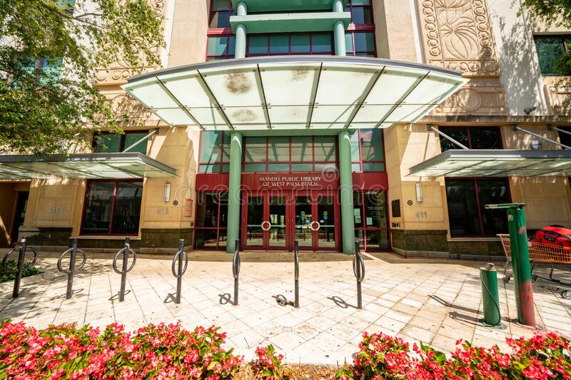 Mandel Public Library West Palm Beach FL building front. USA royalty free stock photo