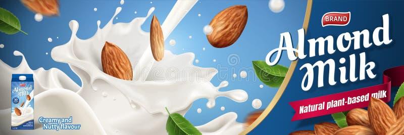 Mandeln mjölkar annonser royaltyfri illustrationer