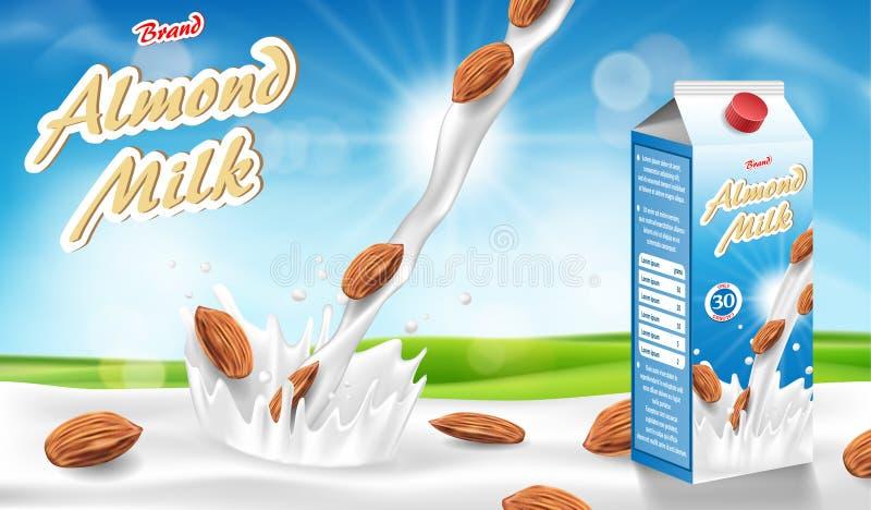 Mandeln mjölkar exponeringsglas med färgstänk som isoleras på bokehbakgrund med frö Mjölka produktpackedesignen också vektor för  royaltyfri illustrationer