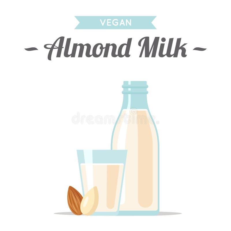 Mandeln mjölkar, strikt vegetarianillustrationen Plan stil stock illustrationer