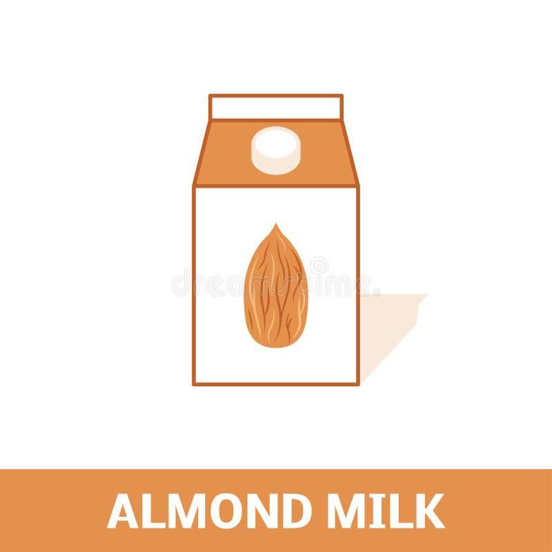 Mandeln mjölkar symbolen stock illustrationer