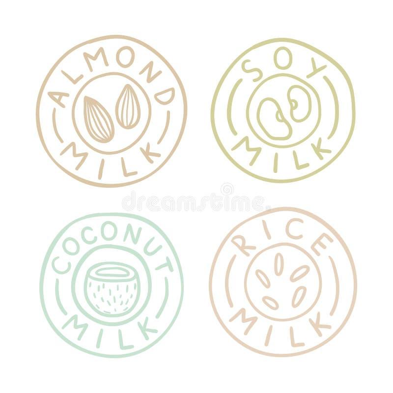 Mandeln sojaböna, kokosnöten, ris mjölkar emblem royaltyfri illustrationer